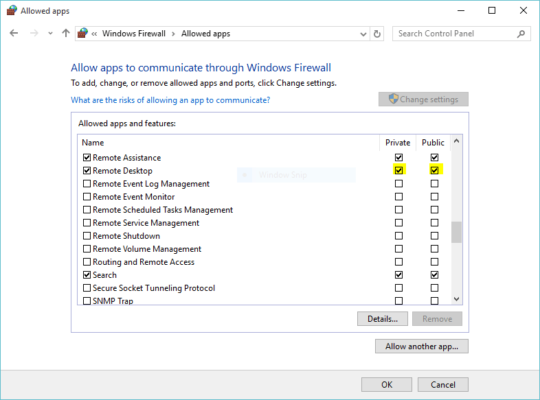 Allow Remote Desktop from Windows 10 Firewall