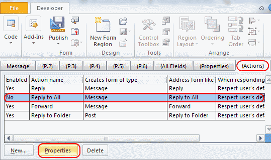 Outlook 2016 2013 disable reply to all for email for Office 2010 design mode