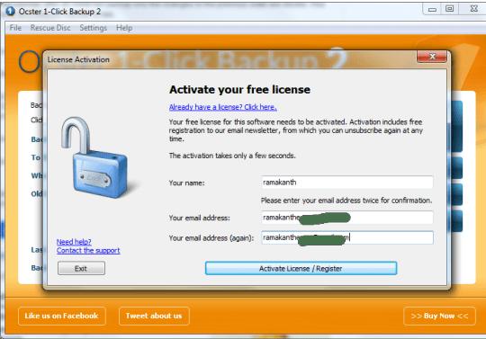 Ocster 1-Click Backup license