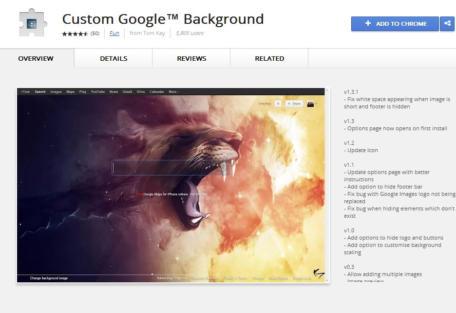 Add Background Image to Google Search Page