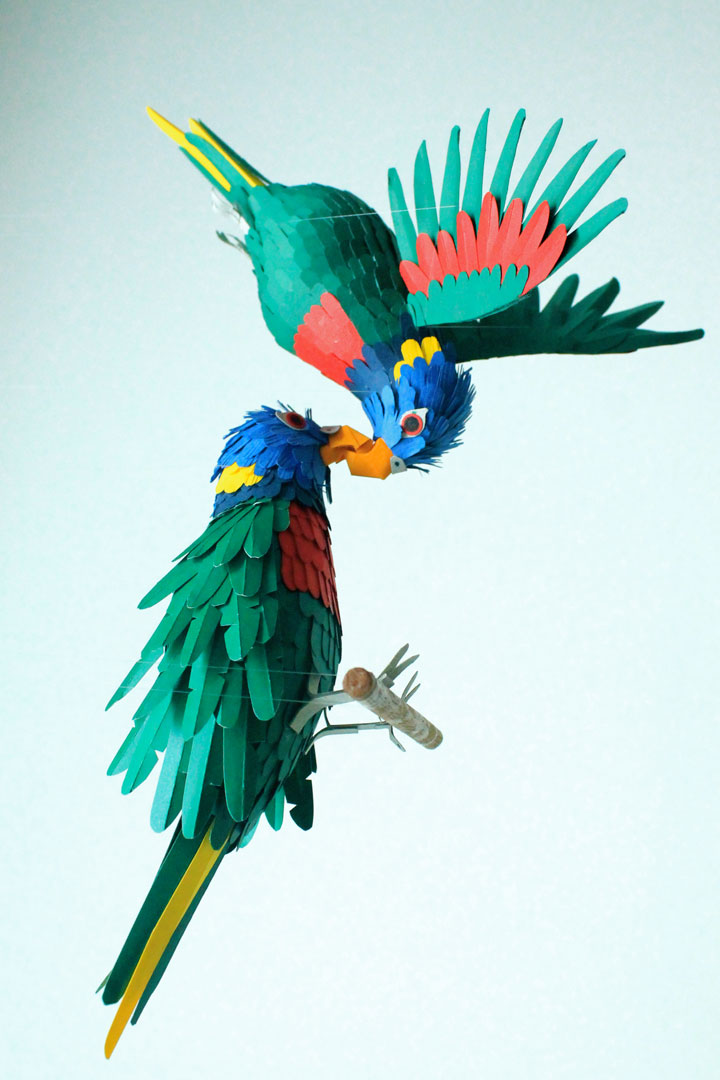 Lifelike 3d Wallpaper Amazing Colorful Birds Made Entirely Of Paper Photo Gallery