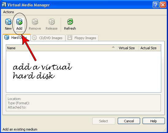 add virtual hard disk1 Try Google Chrome OS on Windows XP