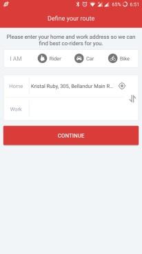 sRide option to select rider, car or bike