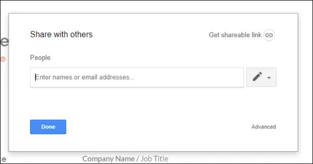 google docs resume link means