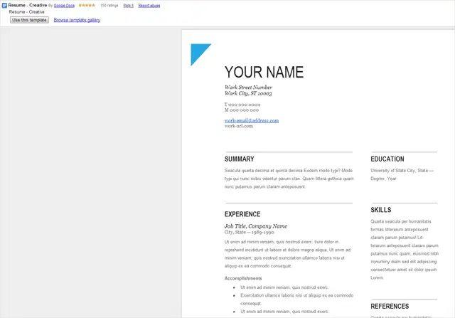 top google doc resume template