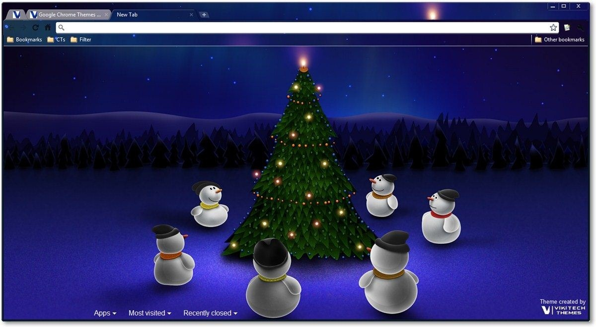 Snowmen around christmas tree