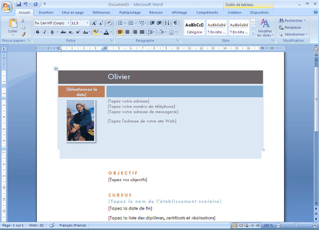exemple cv avec microsoft publisher