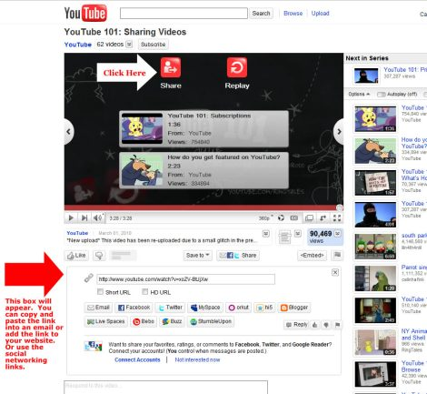 Share your youtube video with your friends via email