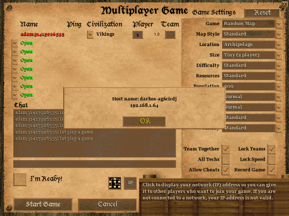Age of Empires II Multiplayer creating game host