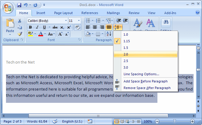 how to single space in word 2010
