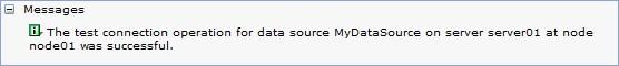 Creating DataSource  Confirmation screen