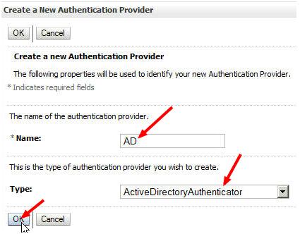Create New Authentication Provider Weblogic