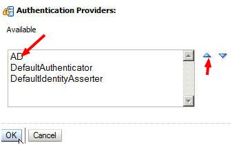 Reorder Authentication Providers Weblogic