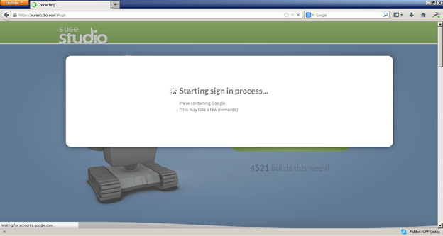 Suse studio login screen
