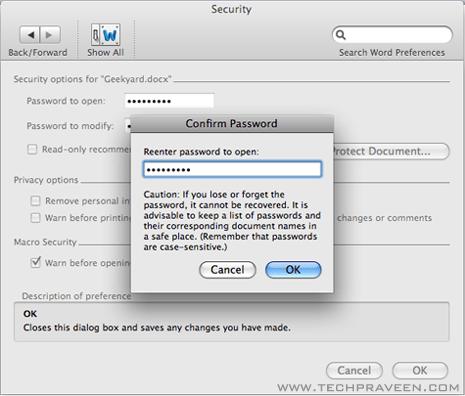 Microsoft Word doc 2011 Password Protect