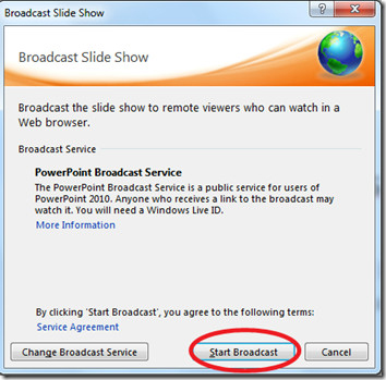 Microsoft Office 2010 PowerPoint Broadcasts Presentations
