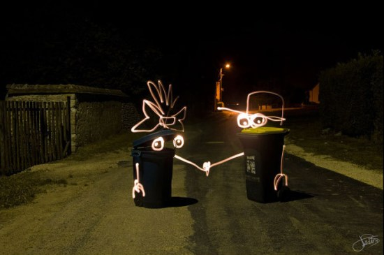 trash cans - Light Painting Photography