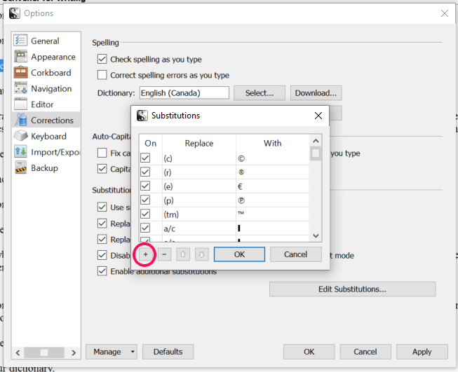 Substitutions shortcuts Scrivener