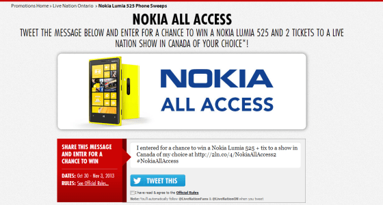 Live Nation Tweematic   Nokia Lumia 525 Phone Sweeps