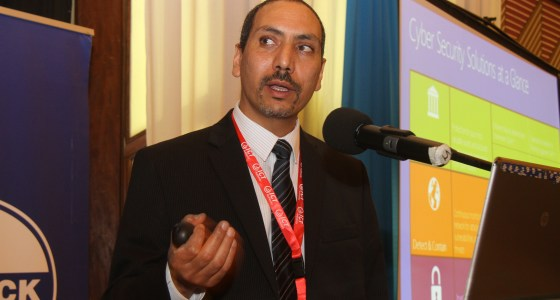Microsoft's Hesham Ali giving a presentation at the Comesa Cybercrime Summit