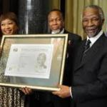 Former president Thabo Mbeki, Deputy President Kgalema Motlanthe and Zinzi Mandela receiving Nelson Mandela's smart ID Card during the launch (image:iol.co.za)