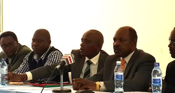Statehouse Digital Director Dennis Itumbi (Center) with Kisumu County Governor Jack Ranguma (immediate right) and other county officials