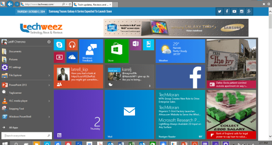 Start menu in Windows 10.