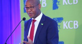 KCB Group CEO Joshua Oigara addresses the audience at the KCB 2015 Half Year Results Briefing at the Hilton Hotel, Nairobi
