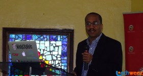Kenynote Speaker, Raymond Hightower speaking at the Ruby Conference at African Nazarene University
