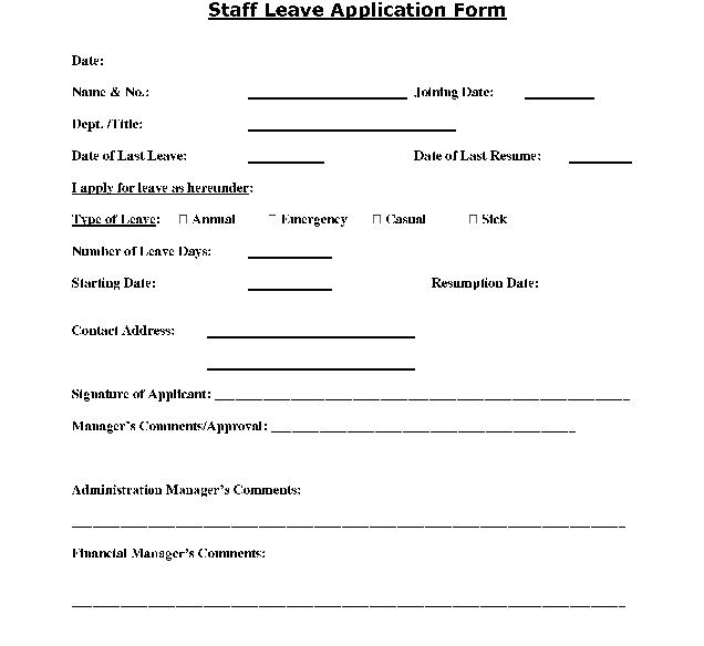 Format Of Leave Application Form  ResumeTemplatePaasproviderCom