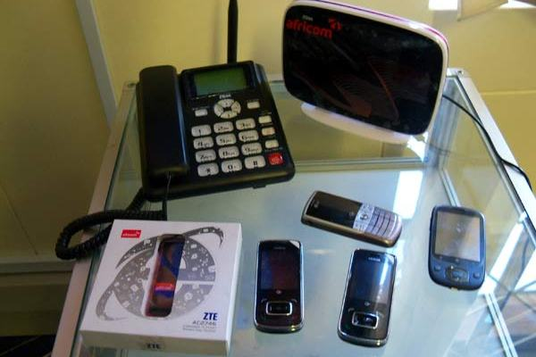 Some Africom CDMA devices on display at the Africom HQ in Harare