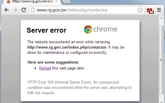 Form Submisison error on RG's website