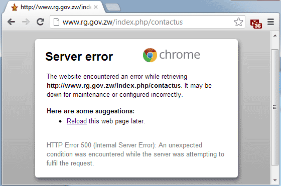 Form Submisison error on RG's website