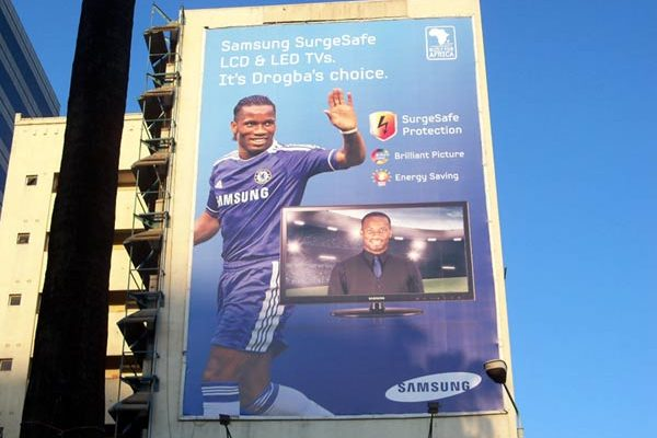 A recently erected billboard advertises Samsung's surge protected TVs along Harare's Angwa Street.
