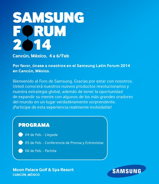Samsung Latin Forum e-invitation press español