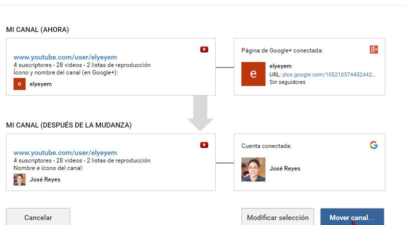 Cómo transferir un canal de YouTube a otra cuenta