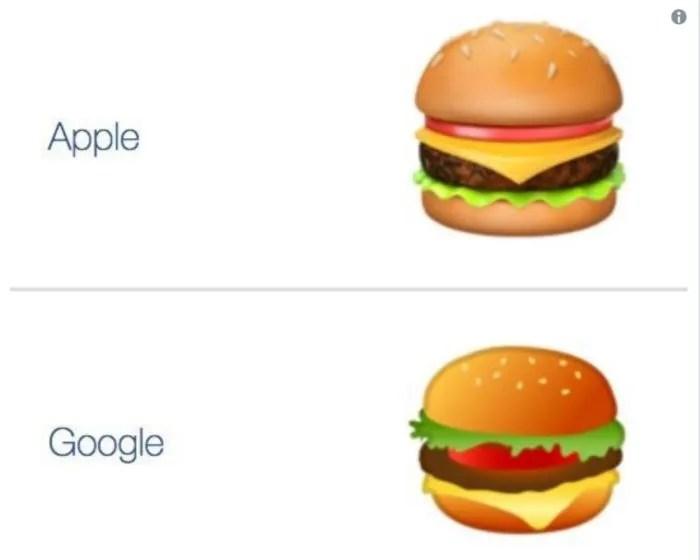 Google sbaglia l'emoji dell'hamburger: