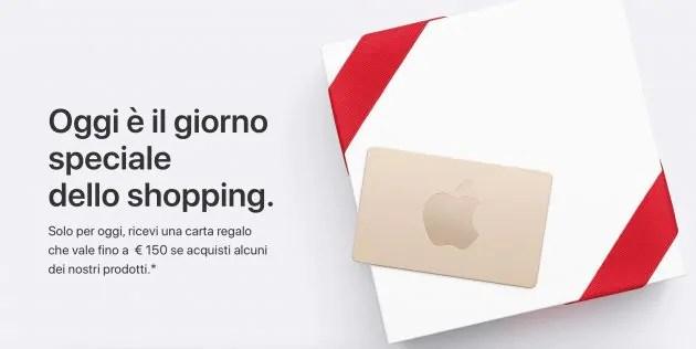 Il Black Friday di Apple, carte regalo fino a 150€