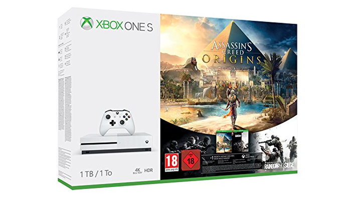 Xbox One S 1 TB + Assassin's Creed Origins + Rainbow Siege