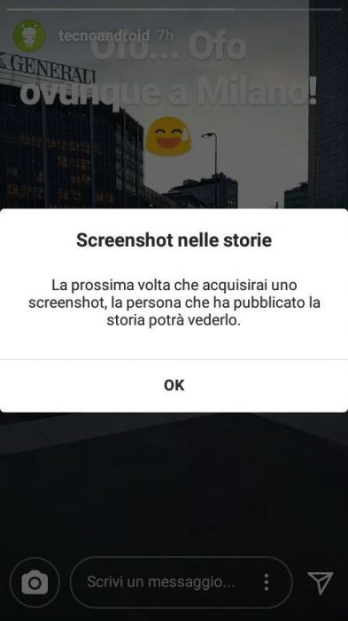 Instagram introduce l'alert in caso di screenshot delle storie