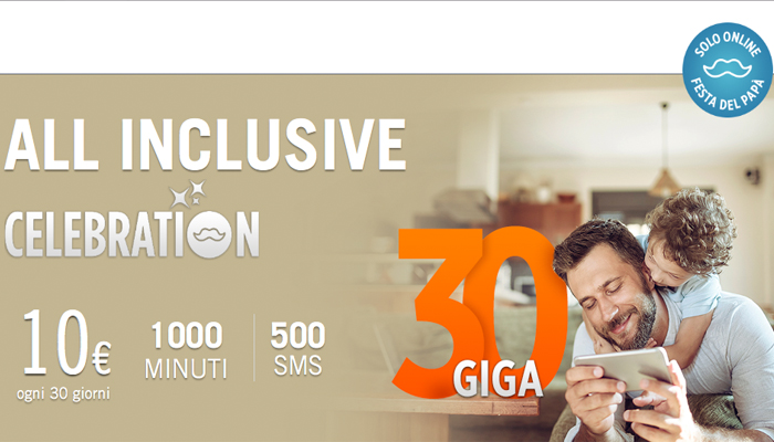 Wind All Inclusive Celebration: 1000 minuti, 500 SMS e 30GB a 10€
