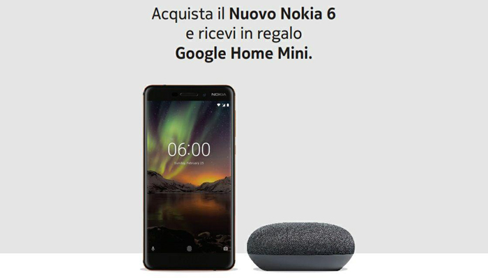 Nokia 6.1 in Italia con Google Home Mini