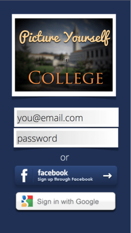 "App interface for ""Picture Yourself in College"""