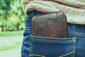 wallet in back pocket with filter effect retro vintage style