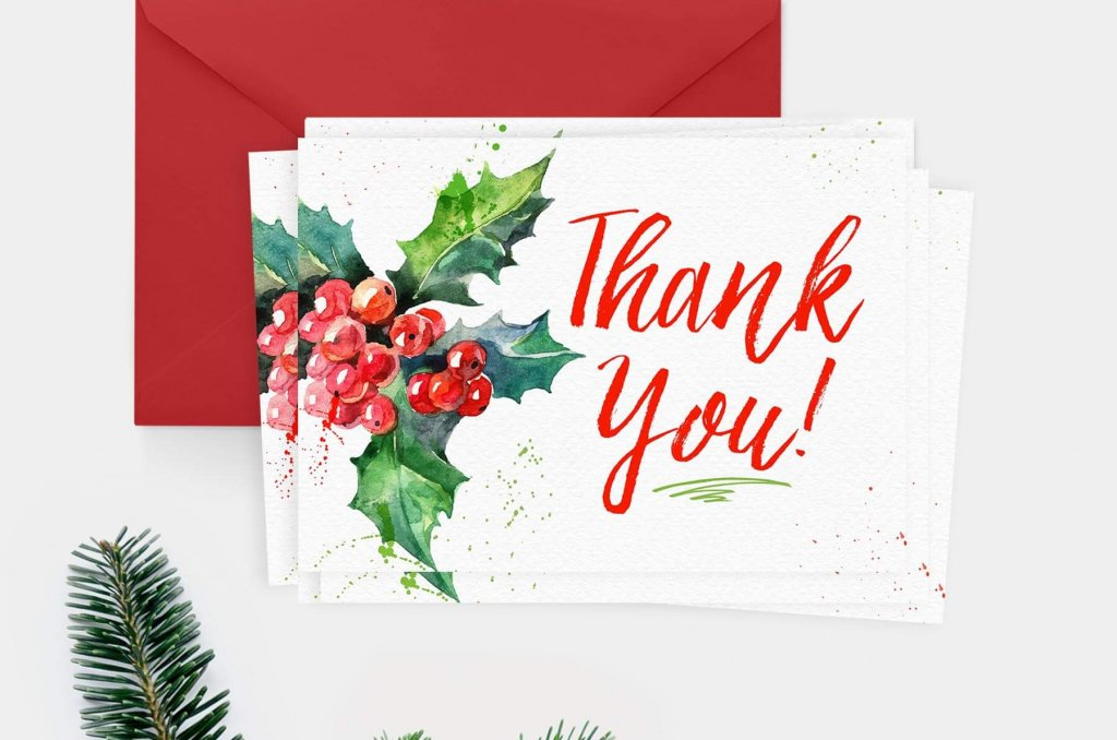Free Christmas Thank You Cards - Teepee Girl
