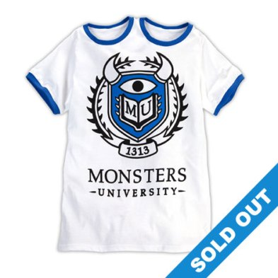 Monsters University White T-Shirt 2 Collars