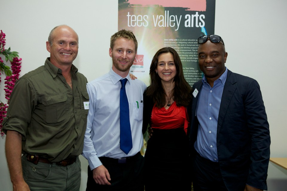 L-R:  Simon King, Joe Dunne (Tees Valley Arts), Trai Anfield (Heritage Lottery Fund North East Committee Member), David Lindo