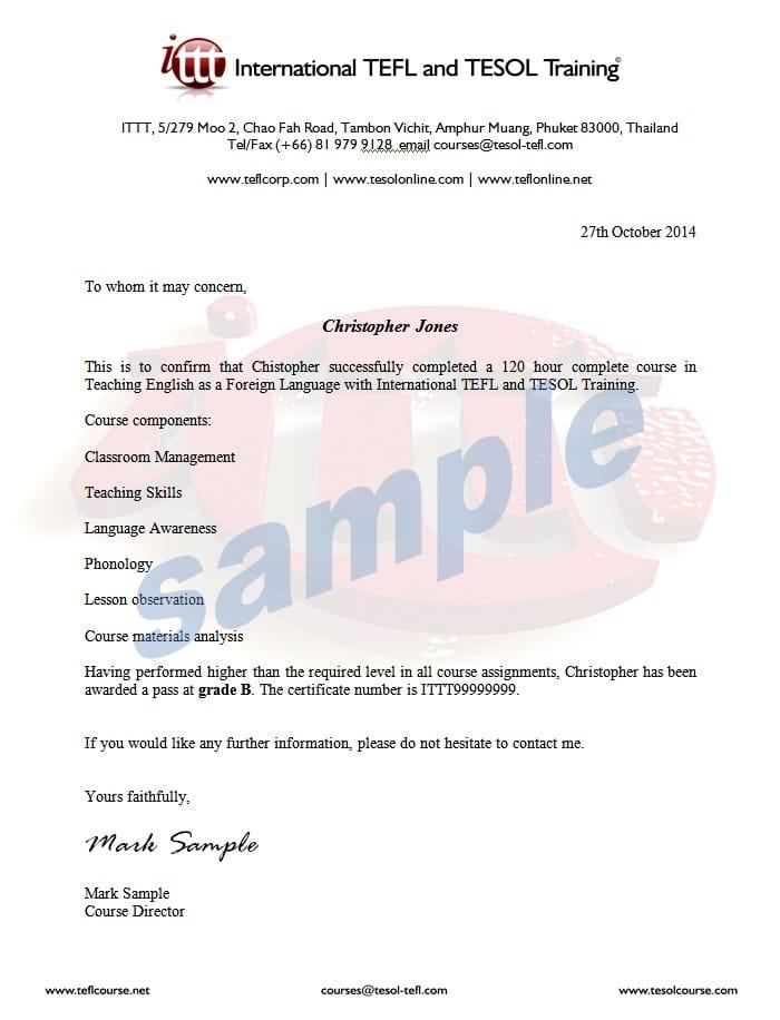 Completion Letter Sample