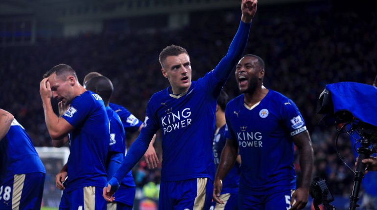 Leicester City's Jamie Vardy celebrates scoring his side's first goal of the game during the Barclays Premier League match at the King Power Stadium, Leicester. PRESS ASSOCIATION Photo. Picture date: Saturday November 28, 2015. See PA story SOCCER Leicester. Photo credit should read: Mike Egerton/PA Wire. RESTRICTIONS:  EDITORIAL USE ONLY No use with unauthorised audio, video, data, fixture lists, club/league logos or ''live'' services. Online in-match use limited to 75 images, no video emulation. No use in betting, games or single club/league/player publications.
