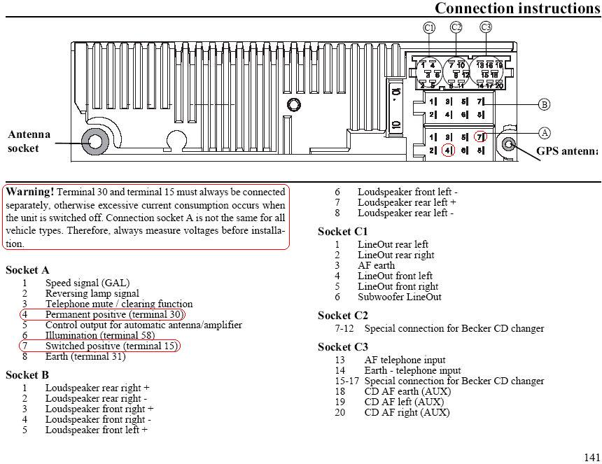 Becker Car Radio Stereo Audio Wiring Diagram Autoradio connector